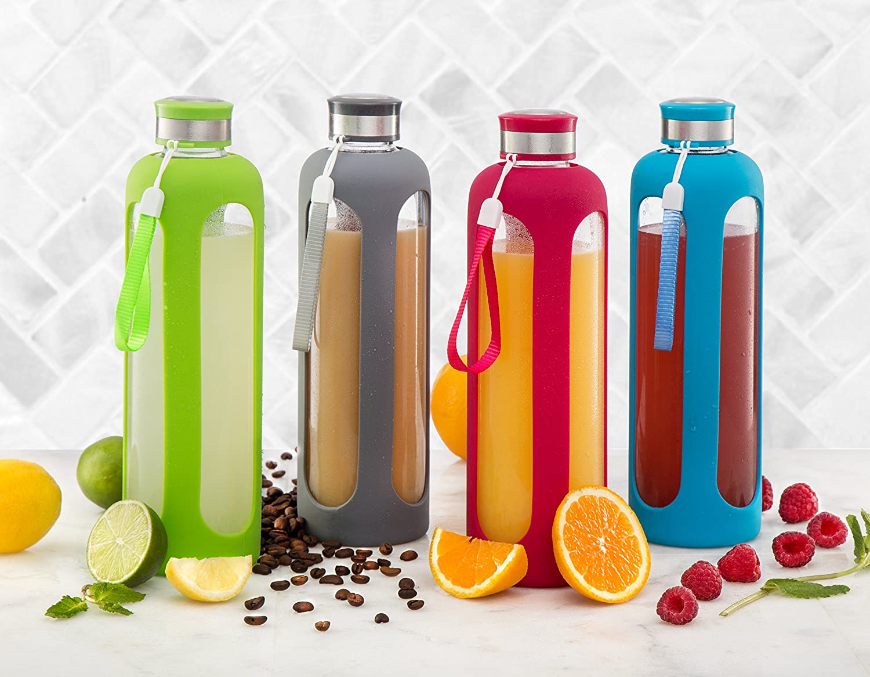 Swig Savvy - Botella de agua de cristal 20oz/32oz resistentes a la rotura de vidrio borosilicatado + Funda protectora de silicona sin BPA.