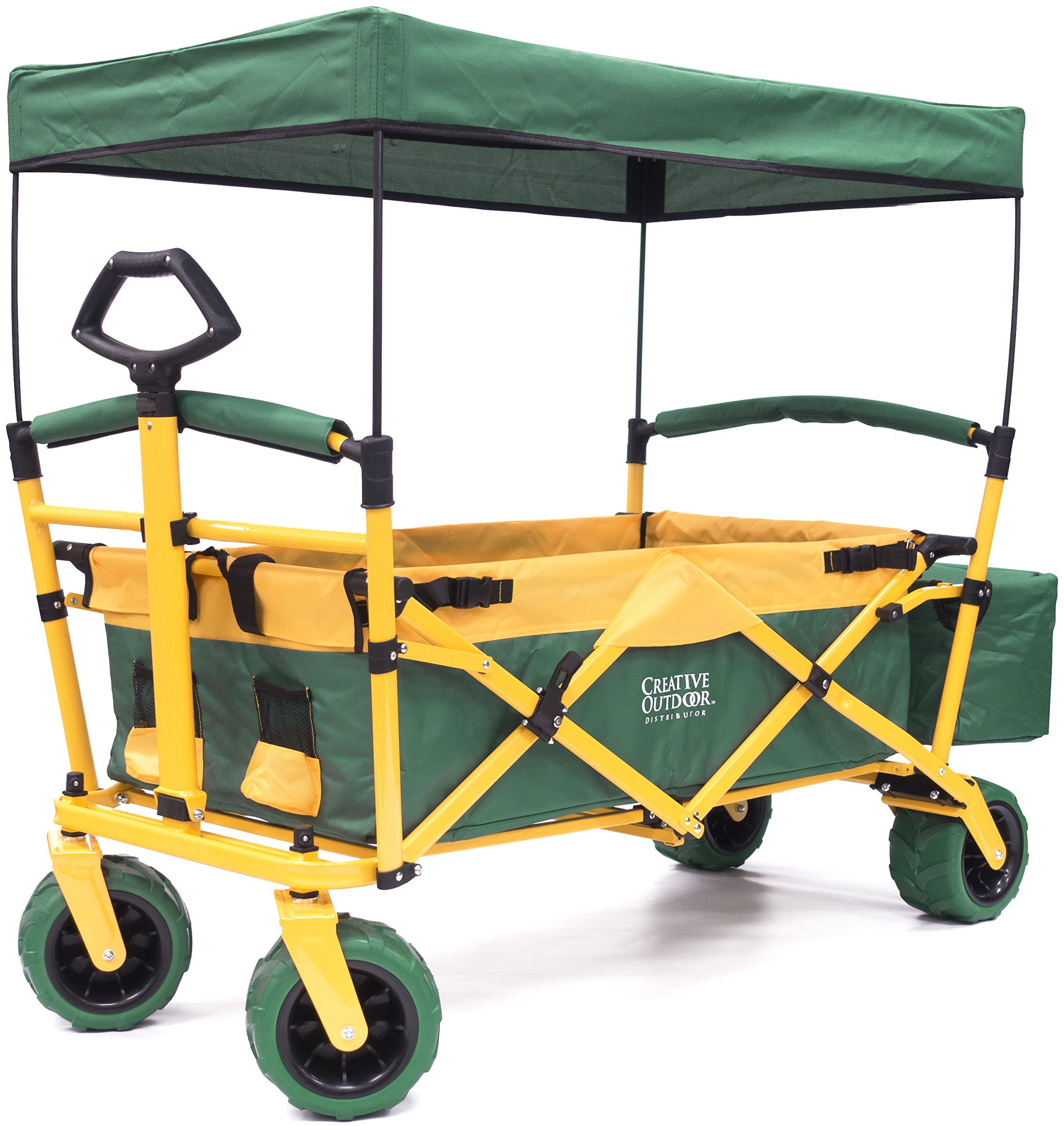 Folding SPORTS Wagon with All-Terrain Rubber Tires, Removable Canopy, and Storage Basket + FREE Cooler (Green fabric/Yellow frame) by Creative Outdoor Distributor