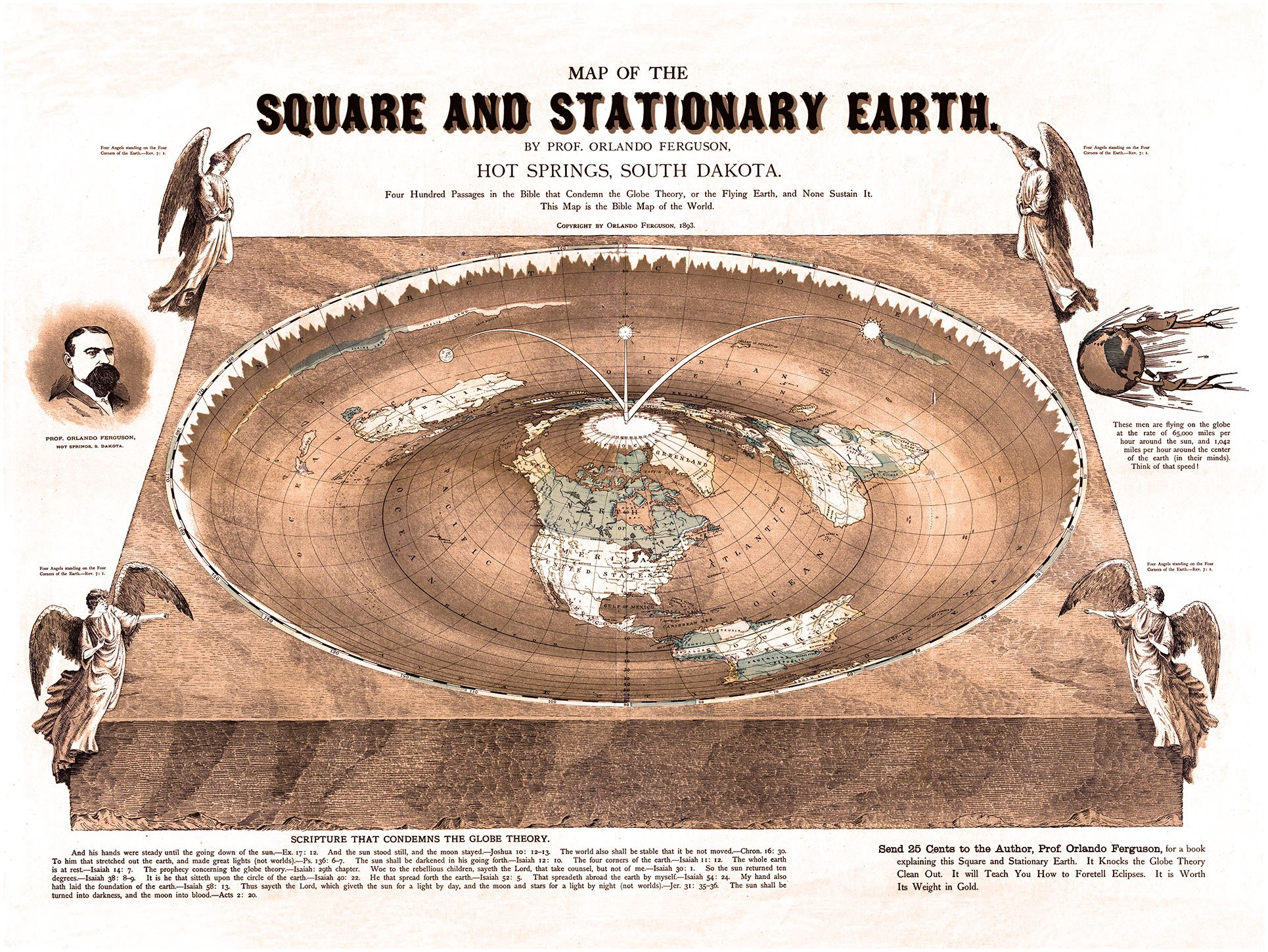 Flat Earth Map - Map of the Square and Stationary Earth -Orlando Ferguson- Poster 18'' x 24'' (1)