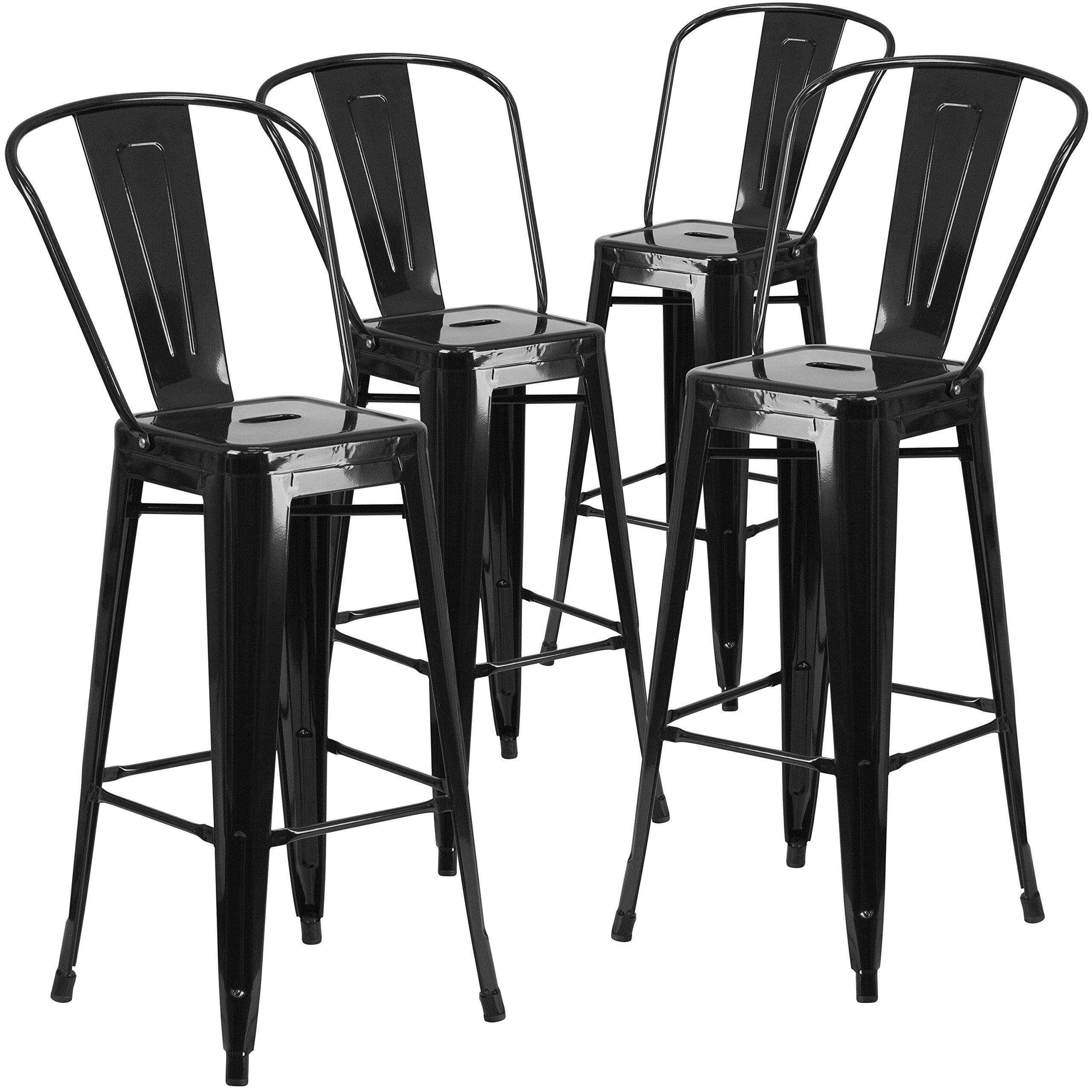 Flash Furniture 4 Pk. 30'' High Black Metal Indoor-Outdoor Barstool with Back