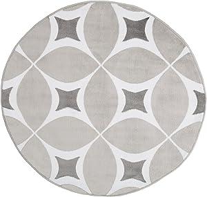 Lavish Home Geometric Area Rug - Grey & White - 5' Round