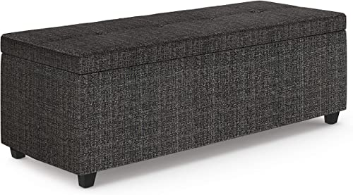 Simpli Home Castleford 48 inch Wide Rectangle Lift Top Storage Ottoman in Upholstered Ebony Tufted Tweed Fabric with Large Storage Space for the Living Room, Entryway, Bedroom, Contemporary