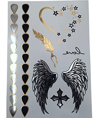 Amazoncom Premium Metallic Flash Angel Wings Tattoos Stars Heart