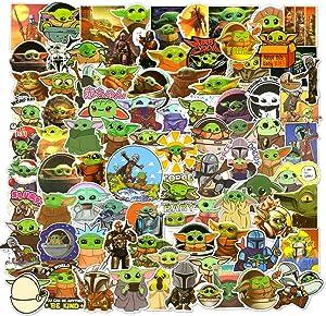 100PCS Baby Yoda Laptop Stickers, Waterproof Vinyl Mandalorian Stickers Decals for Water Bottles Tumbler Luggage Skateboard Bumper Scrapbook, Yoda Sticker Gift for Kids Teens Adults