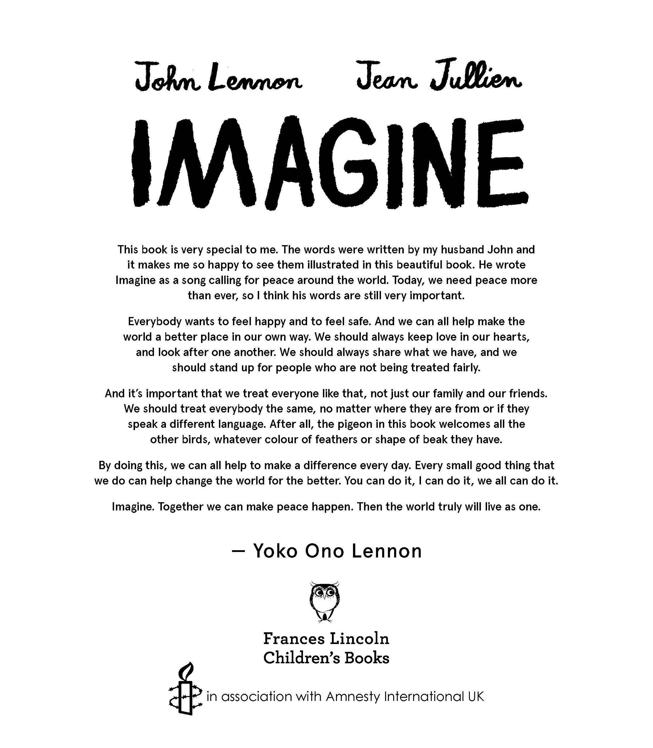 Imagine - John Lennon, Yoko Ono Lennon, Amnesty International ...