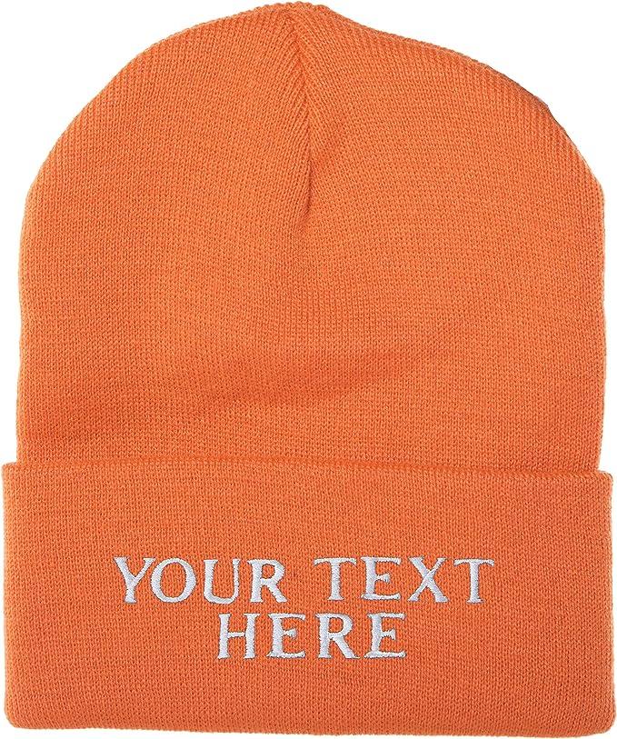 Orange winter wool custom logo beanie
