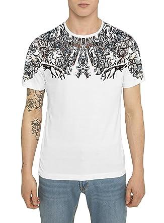 Camisetas Negras de Algodón para Hombre, T Shirt Fashion Vintage Rock, Camiseta con Estampado