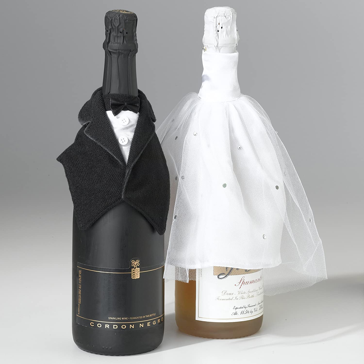 Lillian Rose Bride and Groom Wedding Dress and Tuxedo Wine Bottle Covers
