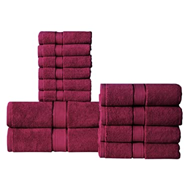 Wicker Park 600 GSM Ultra Soft 100% Cotton 12 Piece Towel Set (Ruby Red): 2 Bath Towels, 4 Hand Towels, 6 Washcloths, Long-Staple Cotton, Spa Hotel Quality, Super Absorbent, Machine Washable