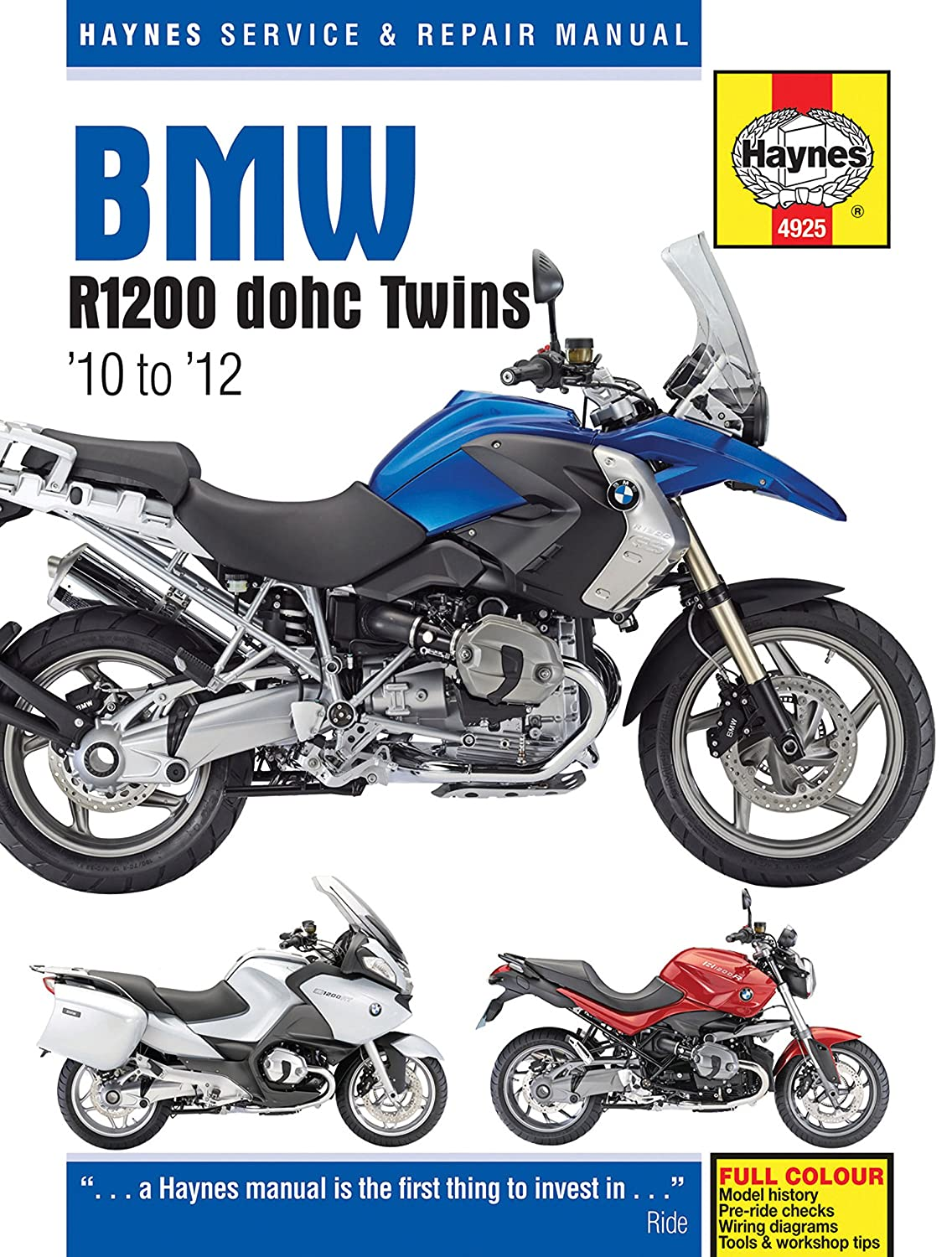 Amazon.com: 2010-2012 BMW R1200 GS R RT HAYNES REPAIR MANUAL 4925:  Automotive