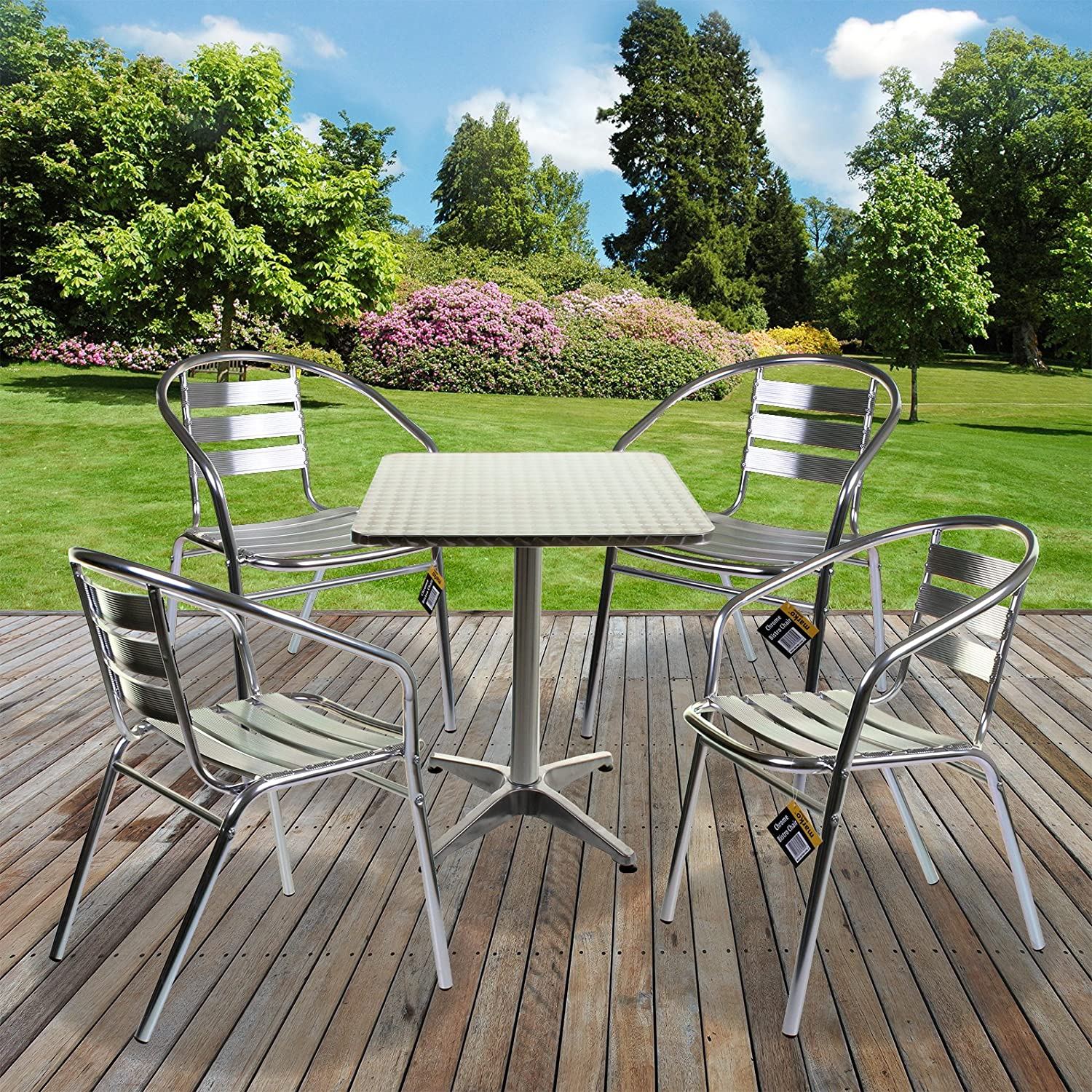 1x Square Bistro Table & 4x Chairs - Aluminium Lightweight Chrome Bistro Sets Square Table Chair Patio Garden Outdoor Marko