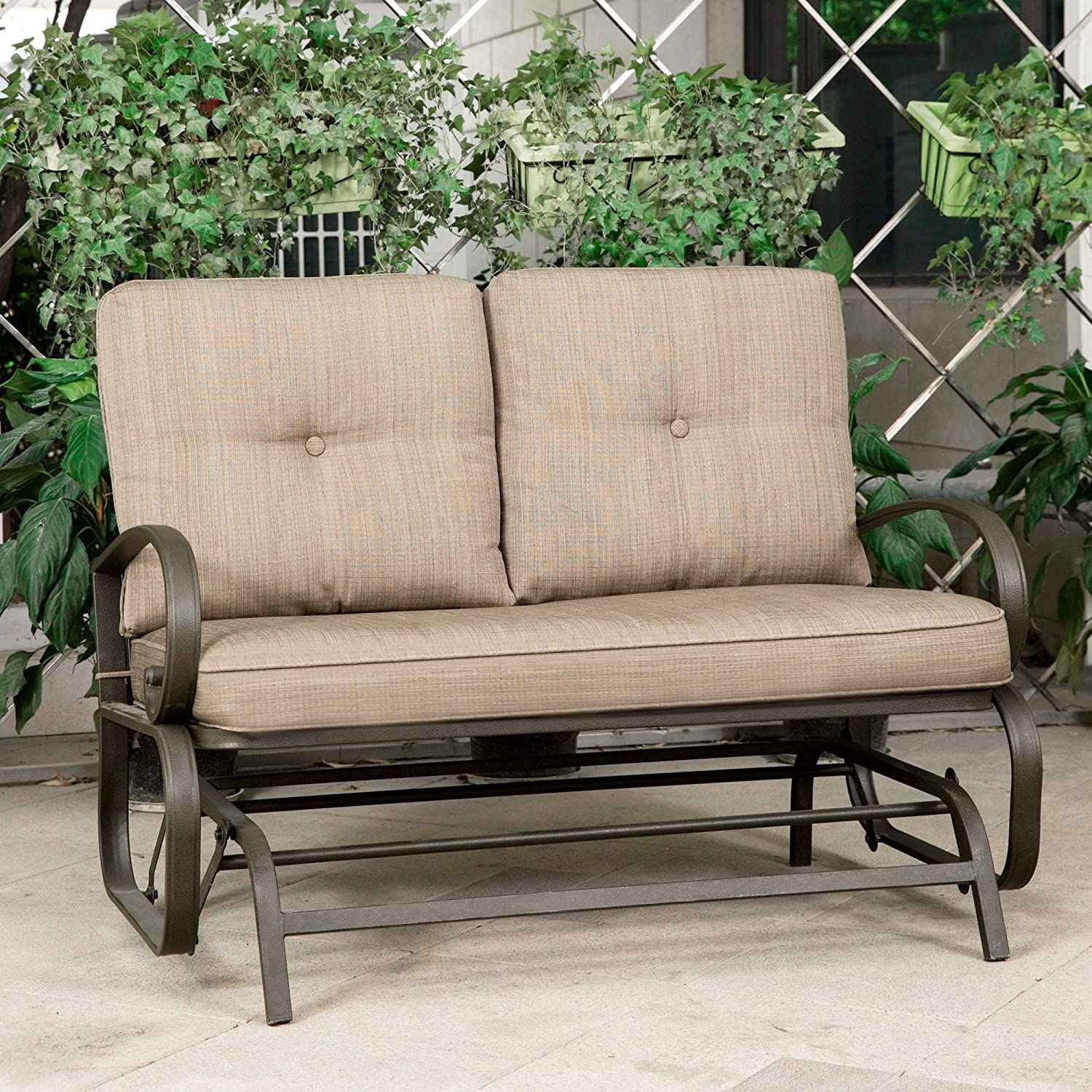 Magnificent Cloud Mountain Patio Glider Bench Outdoor Cushioned 2 Person Swing Loveseat Rocking Seating Patio Swing Rocker Lounge Glider Chair Gradient Brown Dailytribune Chair Design For Home Dailytribuneorg