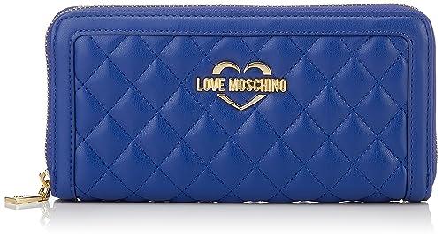 Portafogli Quilted Nappa Pu Blu, Womens Clutch, Blue, 3x10x20 cm (B x H T) Love Moschino