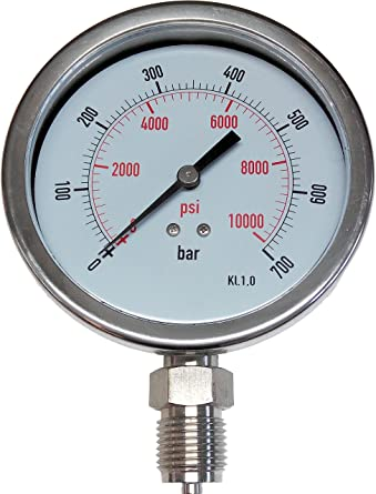 Manometer 700 Bar PSI 100 Mm All Stainless Steel Filling
