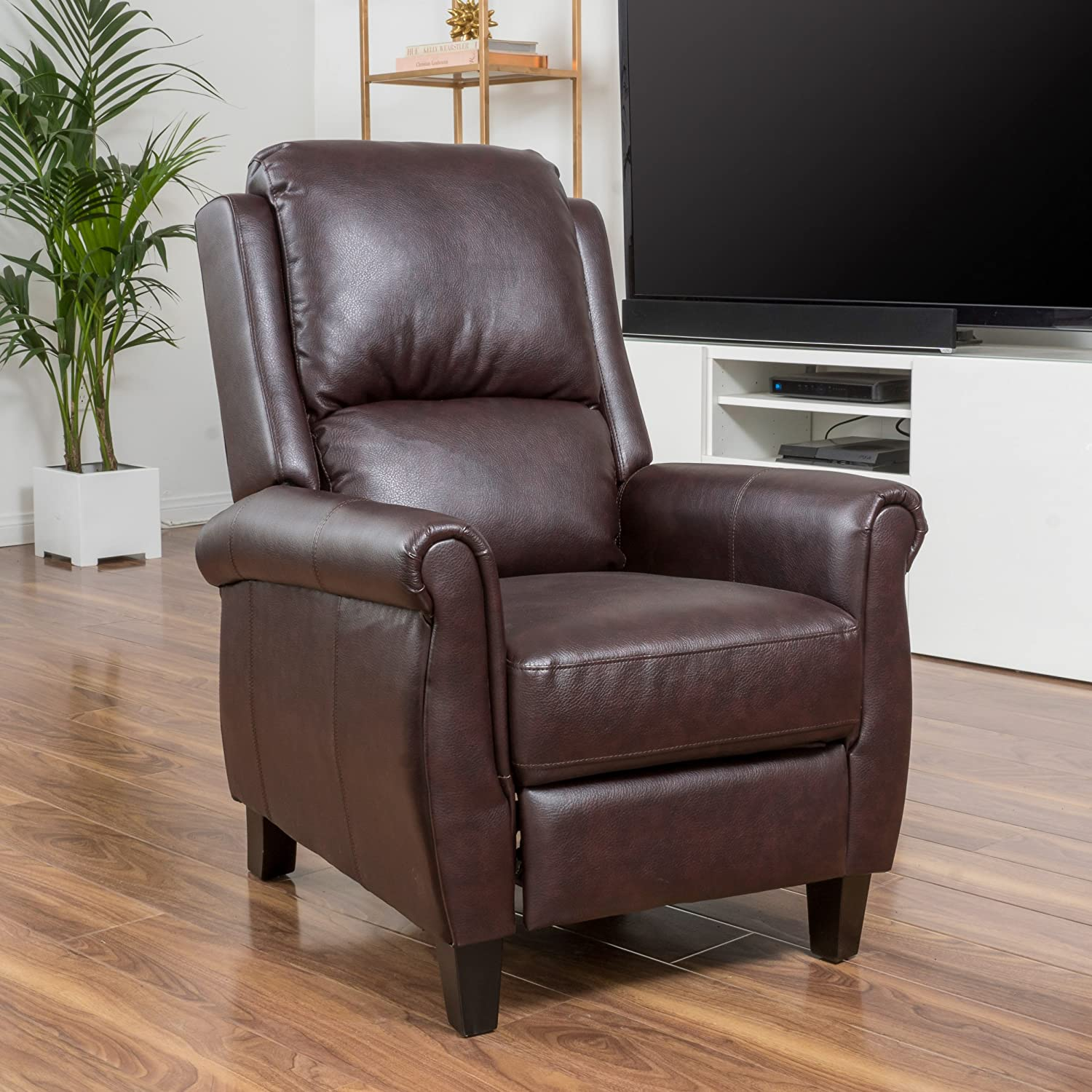 Amazon.com : Denise Austin Home Memphis PU Leather Recliner Club Chair :  Garden U0026 Outdoor