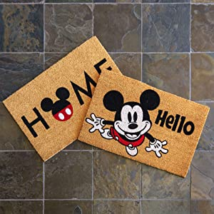 Gertmenian Disney Mickey Mouse Doormat Rug Retro Classic Entryway Floor Mat Carpet, 2 Pack Coir 20x34, Orange Tan Hello Home