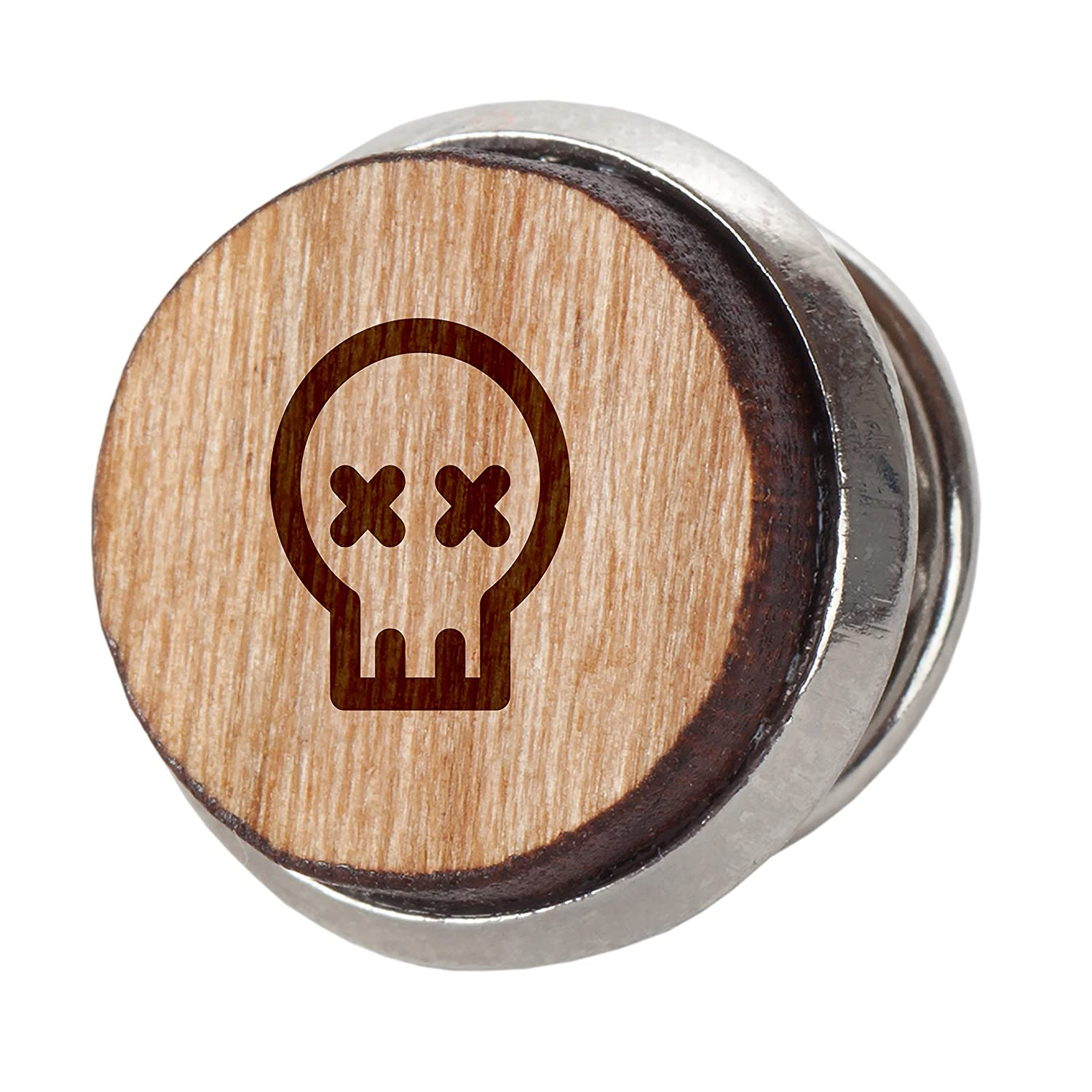 Engraved Tie Tack Gift 12Mm Simple Tie Clip with Laser Engraved Design Cute Skull Stylish Cherry Wood Tie Tack