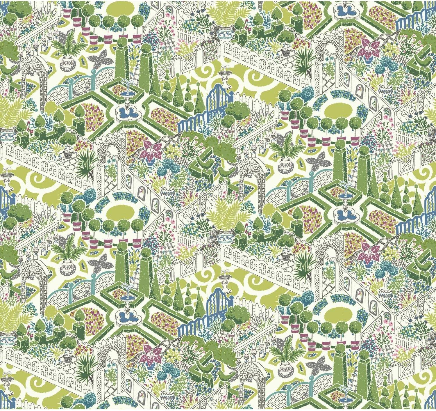 York Wallcoverings Waverly How Does Your Garden Water-Activated Removable Wallpaper - Green | Spray with Water and Hang | Ultra Easy