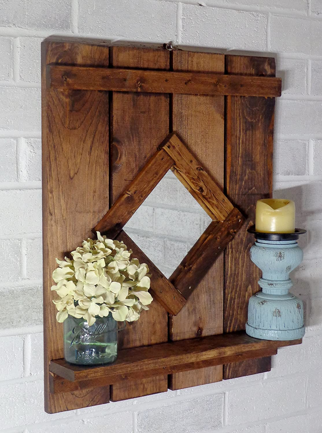 Renewed Decor Diamond Wood Mirror with Shelf - Wall Mirror - Rustic Modern Home - Diamond - Home Decor - Mirror - Home Decor 19