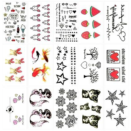 Oottati 15 Hojas Pequeñas Cute Tatuajes Temporales Árbol Corazón ...