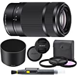 Sony E 55-210mm f/4.5-6.3 OSS Lens (Black) for Sony E-Mount Cameras Bundle. Includes: Filter Kit, Cleaning Pen, Front and Rea