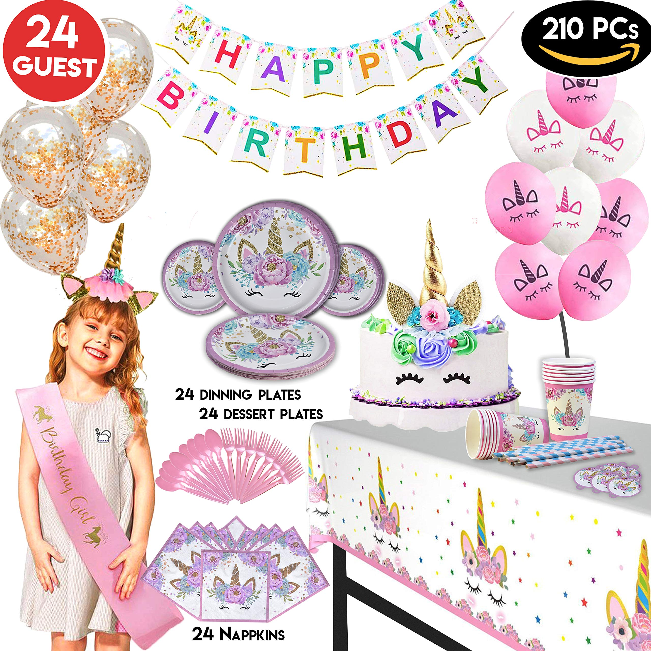 Value Smash Unicorn Party Supplies 24 guests for girls with Birthday Banner, Unicorn Cake Topper, Headband & Sash, Dinning & Dessert plates, Tablecloth, Cups, Forks & Spoons Set, 15 balloons by Value Smash
