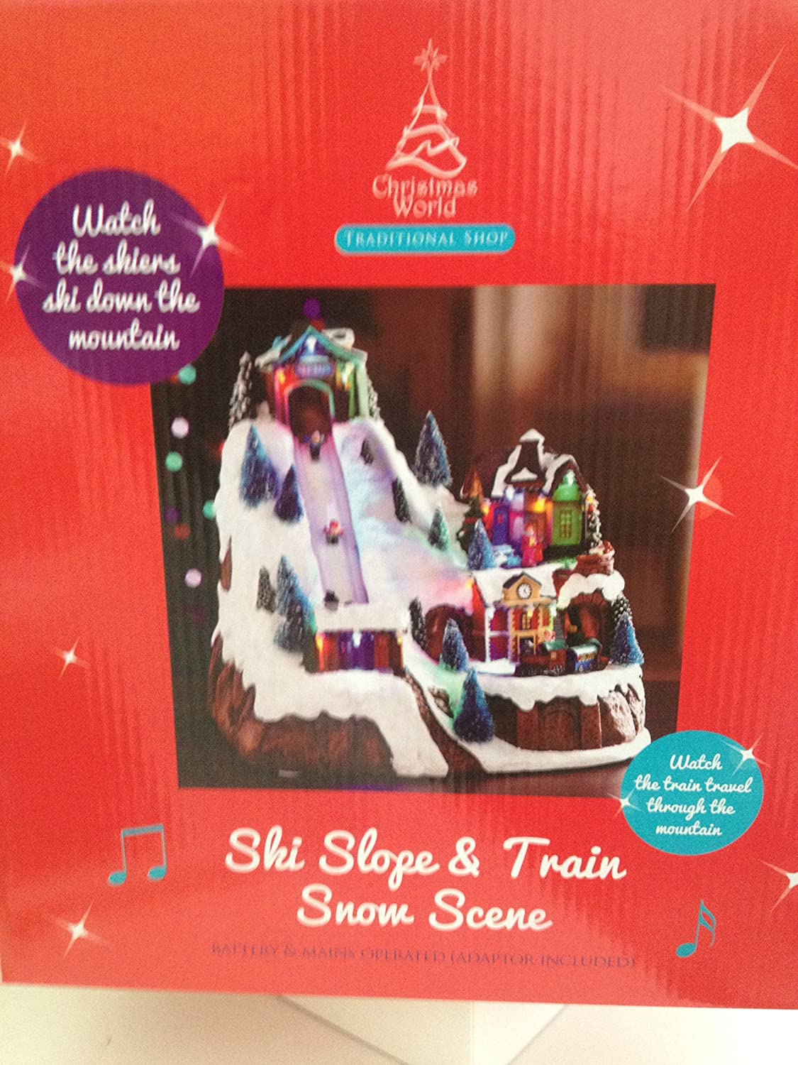 Christmas Musical Scenes Ornaments Part - 50: Ski Slope U0026 Train Snow Scene Musical Christmas Ornament: Amazon.co.uk:  Kitchen U0026 Home