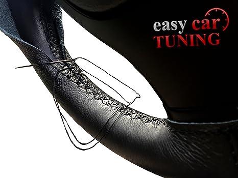 Noir en Cuir V/éritable Housse de volant Rouge points de suture