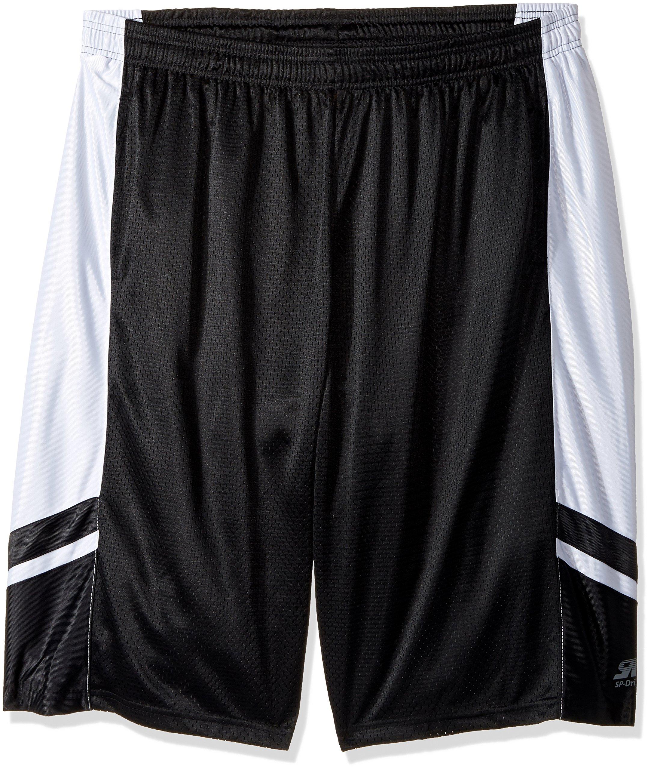 Southpole Men's Big and Tall Basic Basketball Mesh Shorts, Black, 5XB