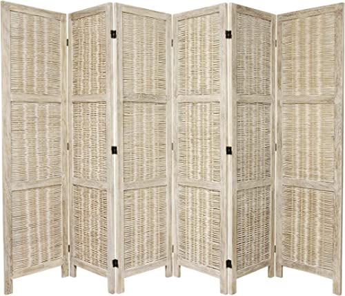 Oriental Furniture 5 1 2 ft. Tall Bamboo Matchstick Woven Room Divider – Burnt White – 6 Panel