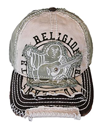 39e7bf1c Amazon.com: New True Religion Unisex Buddha Distressed Grass Trucket Hat Cap  TR#1101: Clothing