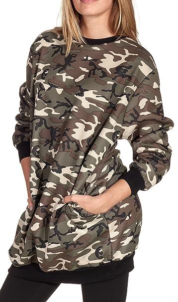 Sudadera oversize para mujer, de estilo holgado, en varios colores camuflaje M/L: Amazon.es: Ropa y accesorios