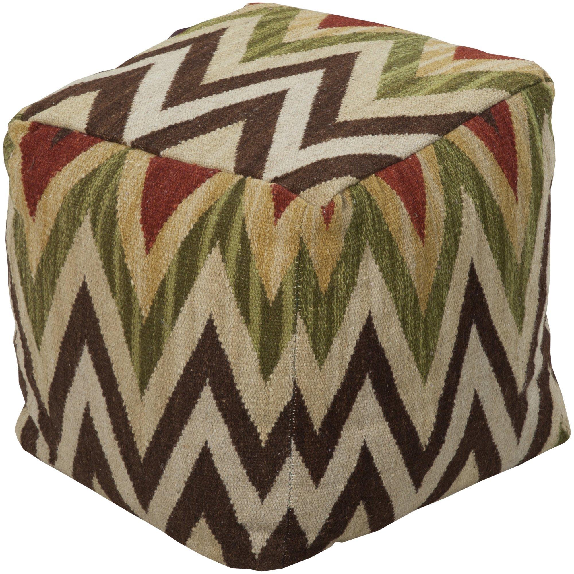 Surya POUF-32 Hand Made 80% Wool / 20% Cotton Brown 18'' x 18'' x 18'' Pouf