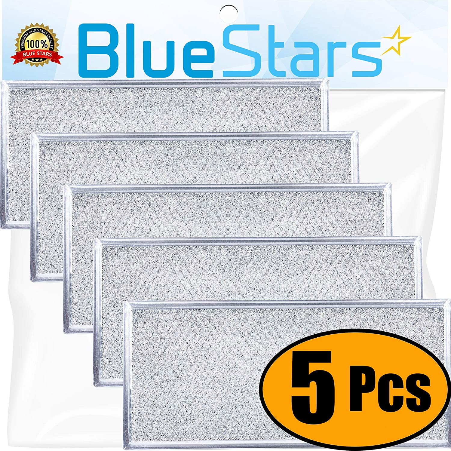 "Ultra Durable W10208631A Filter Aluminum Mesh Microwave Grease Filter Approx. 13"" x 6"" by Blue Stars - Exact Fit for Whirlpool & Maytag Microwaves - Replaces AP5617368, W10208631 - Pack Of 5"