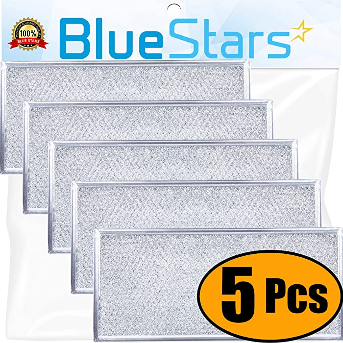 """Ultra Durable W10208631A Filter Aluminum Mesh Microwave Grease Filter Approx. 13"""" x 6"""" by Blue Stars - Exact Fit for Whirlpool & Maytag Microwaves - Replaces AP5617368, W10208631 - Pack Of 5"""