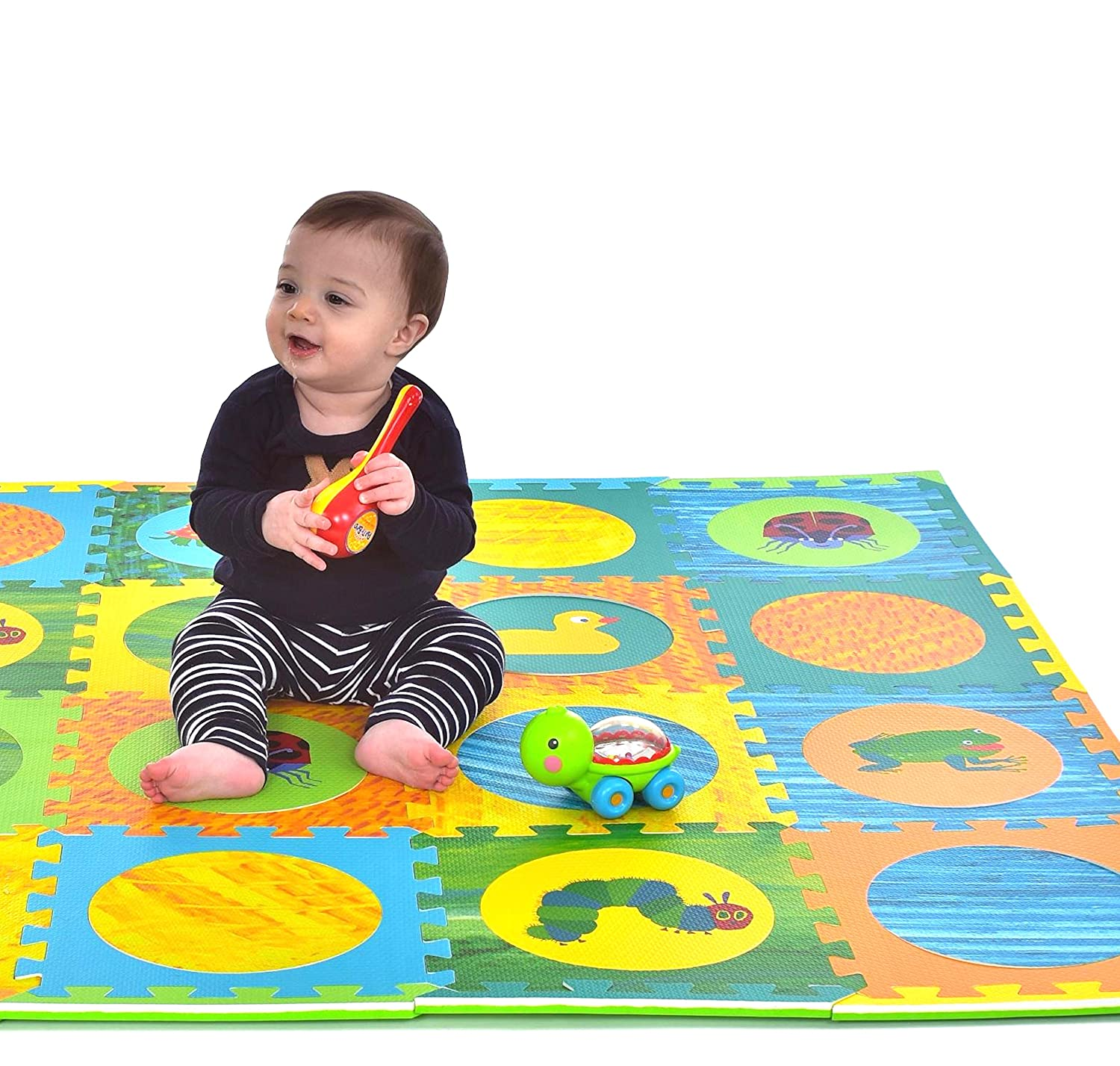 Hungry Caterpillar Baby Mat, Puzzle Mat, Baby Play Mat, Foam Mat, 20 Foam Floor Tiles, Foam Puzzle Mat, Non-Toxic, EVA Foam Mat, Girl & Boy, Infant Play Mat Baby Playmat 65'' x 52'' Eric Carle