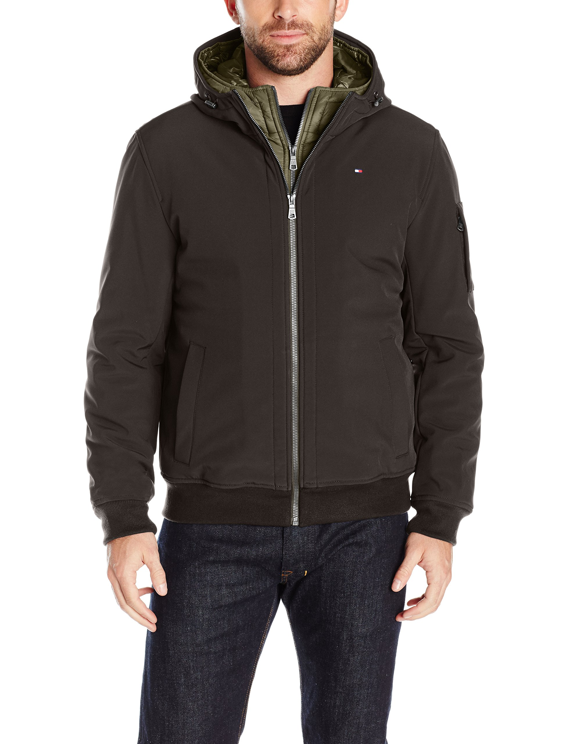 Tommy Hilfiger Men's Soft Shell Fashion Bomber with Contrast Bib and Hood, Black/Olive Bib, L