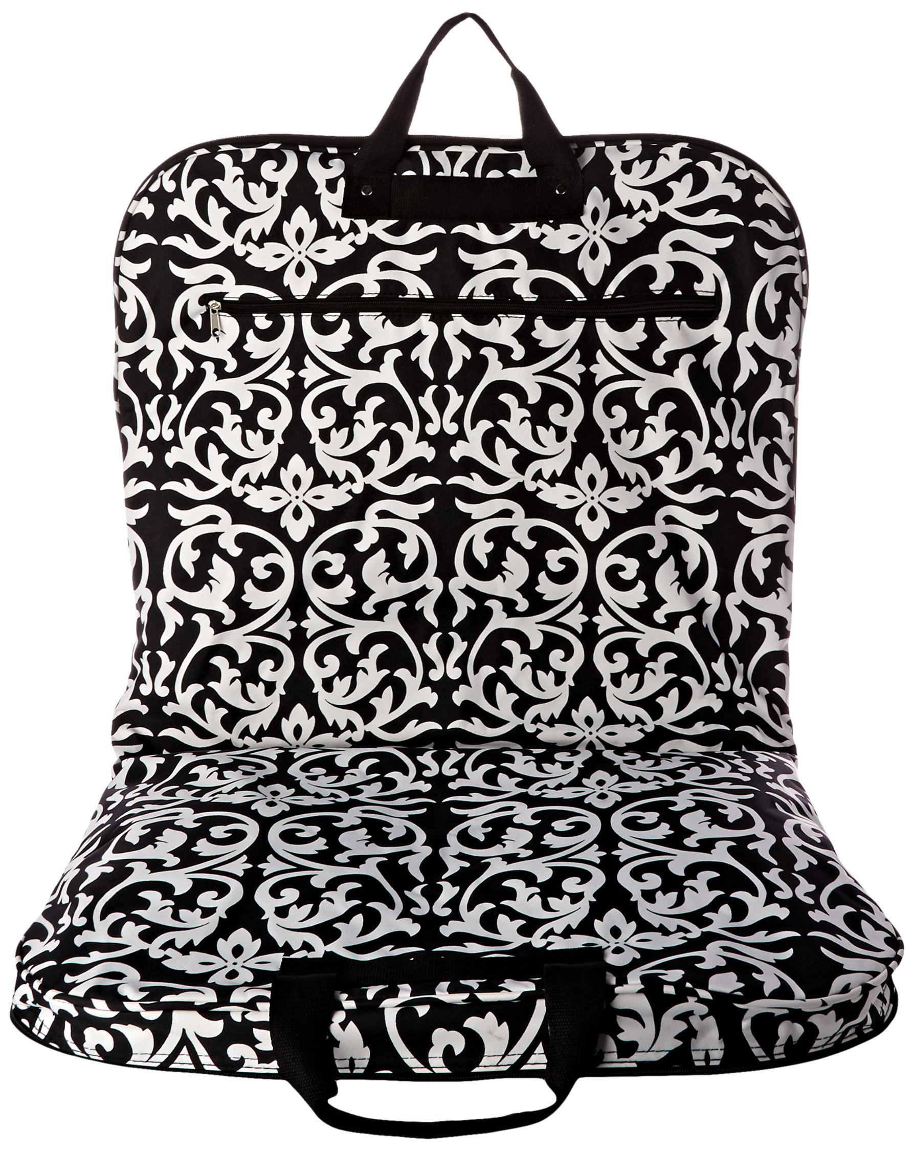 World Traveler 40 Inch Hanging Garment Bag, Black Trim Damask, One Size