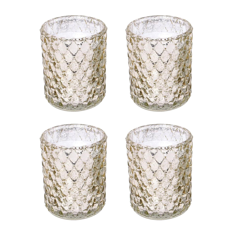 Hosley's Set of 4-4 High Gold Glass Tealight Holders. Ideal Gift Wedding, Party, Spa, Reiki etc, Tea Light O5 HG Global FBA-G38528ON-4-EA