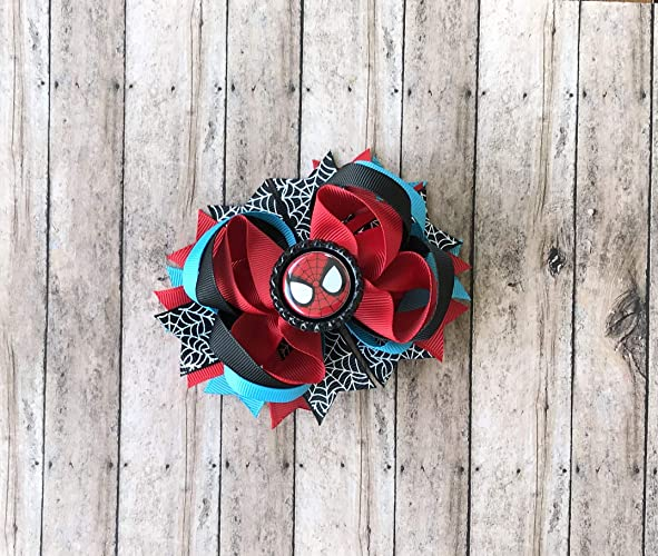 14a99f6f5534 Amazon.com: Spiderman Hair Bow by Inspired Bows: Handmade