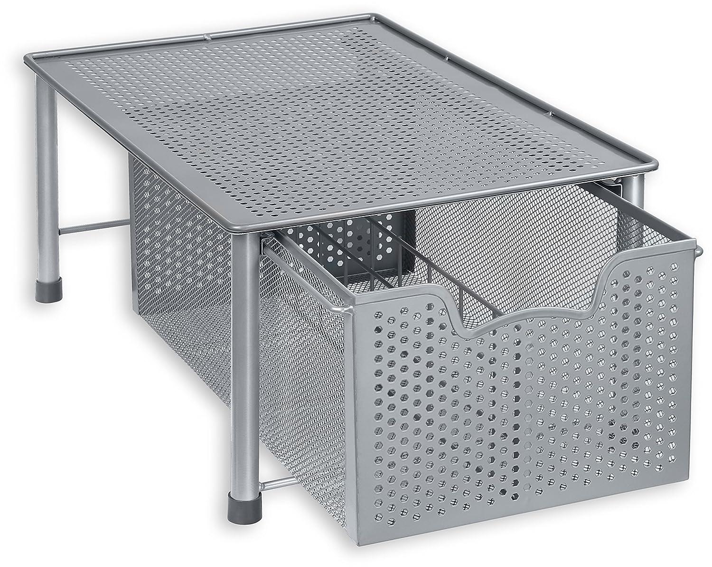 Simple Houseware Stackable Cabinet Basket Drawer Organizer Silver CB-001-1