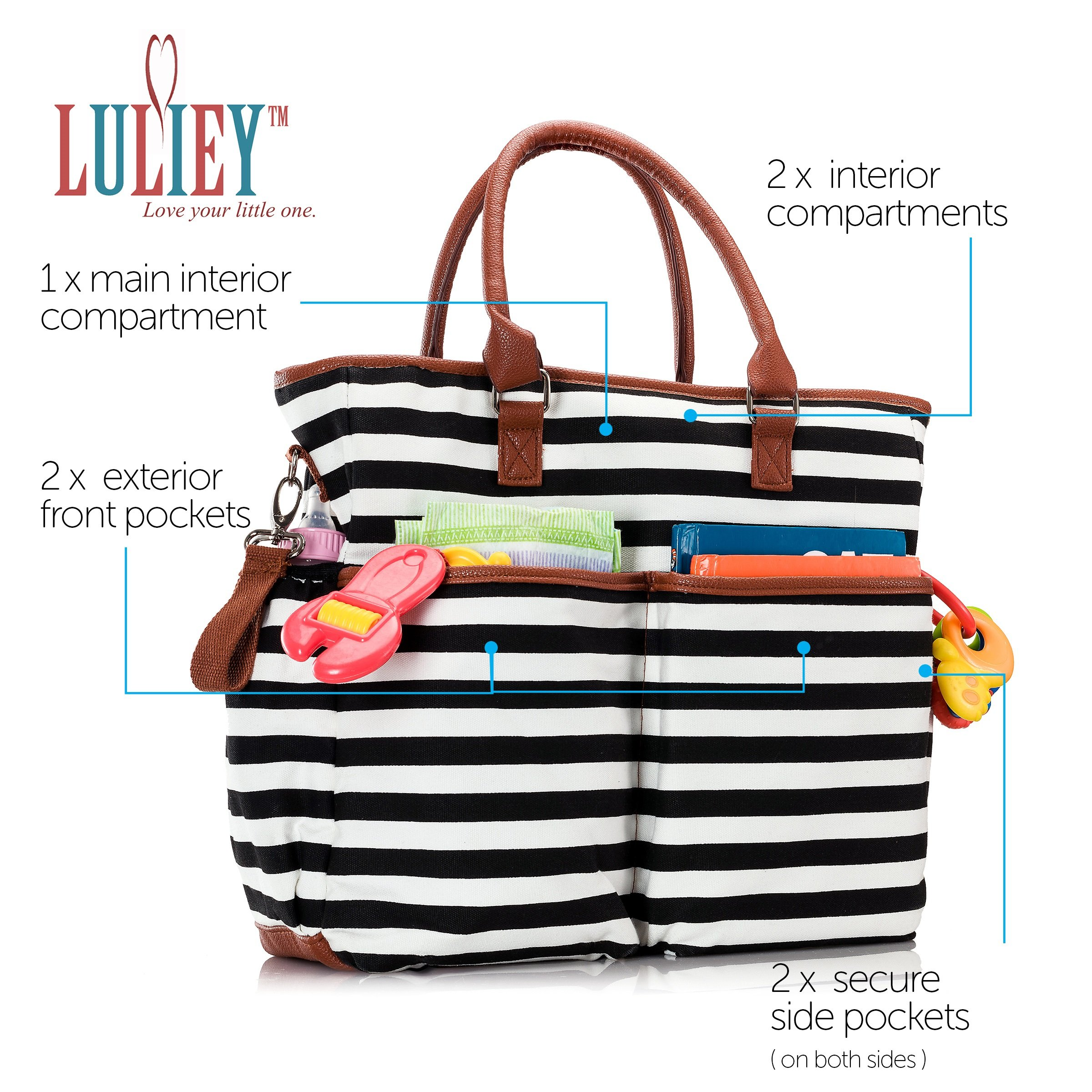 Premium Baby Diaper Tote Bag + Matching Changing Pad and Stroller Strap – 14 Spacious Pockets – Durable Canvas Material – Black and White Stripes with Tan Leather Trim – Lightweight - 14'' x 5'' x 15'' by Luliey (Image #3)