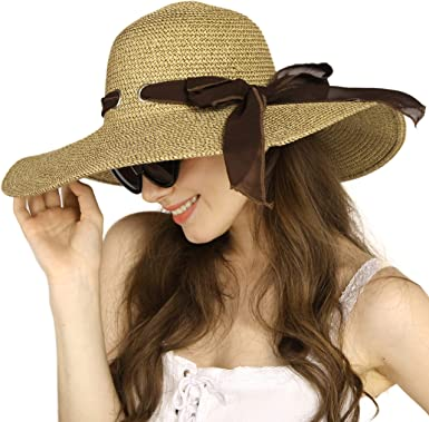 Summer Hats for Women Beach Hats Straw Sun Hat Roll Up Wide Brim Womens  Adjustable Cap at Amazon Women's Clothing store