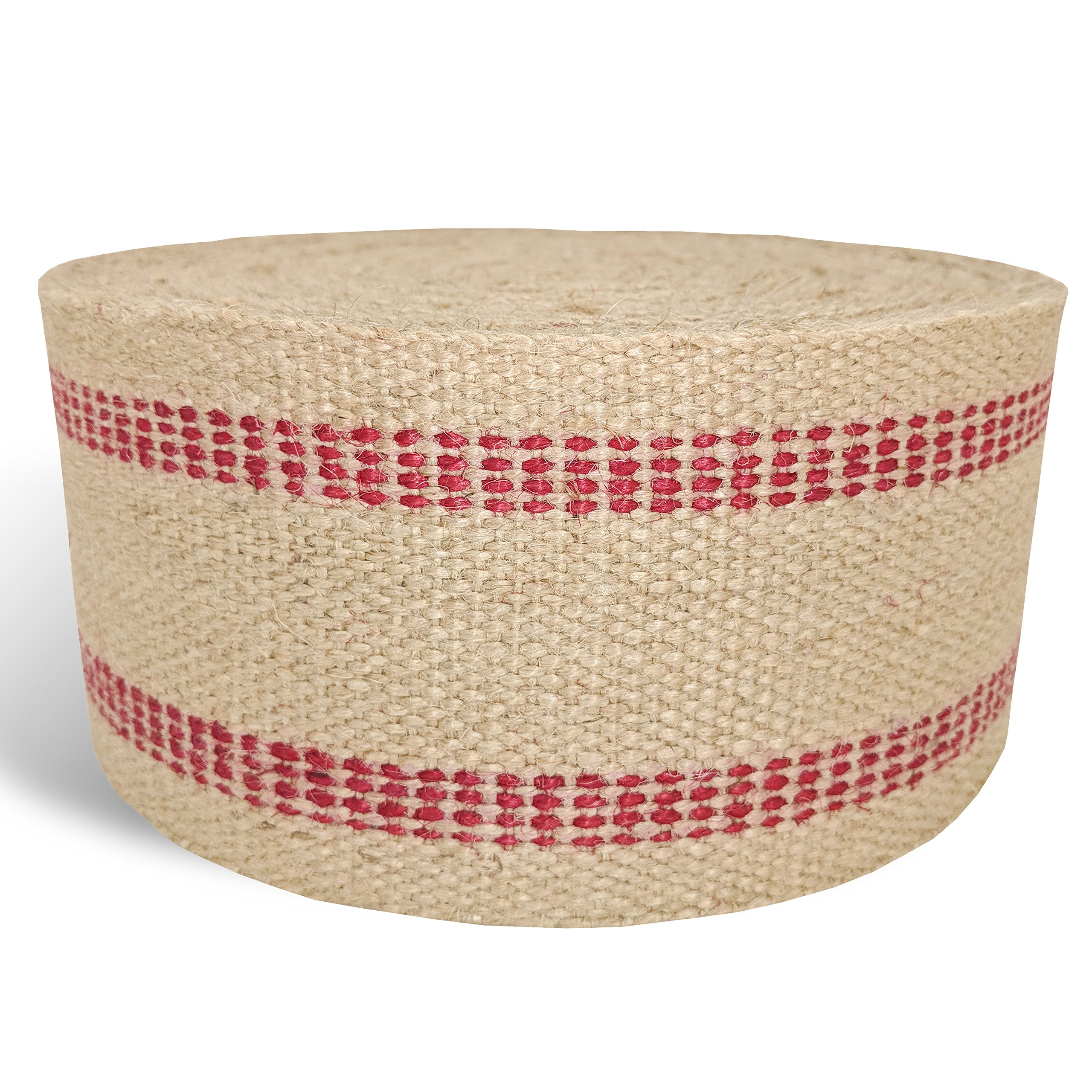Red Upholstery Craft Jute Webbing, 11 lbs 3.5'' x 10Yd and 20 Yd Rolls (20 yd)