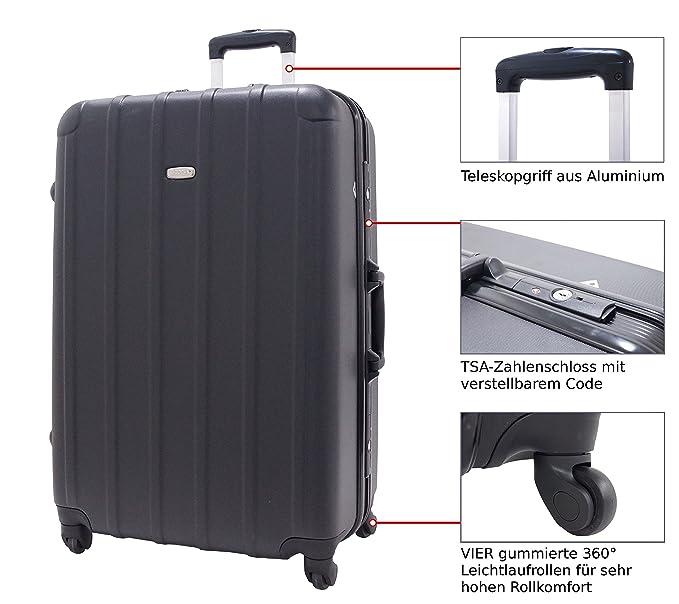 Conjunto Set de 2 maletas Utopia Robusta Equipajes Grande Pequeña de las cuales una de cabina - Coque rigide Negro - Trolley Ruedas Hombre Mujer Mixto ...