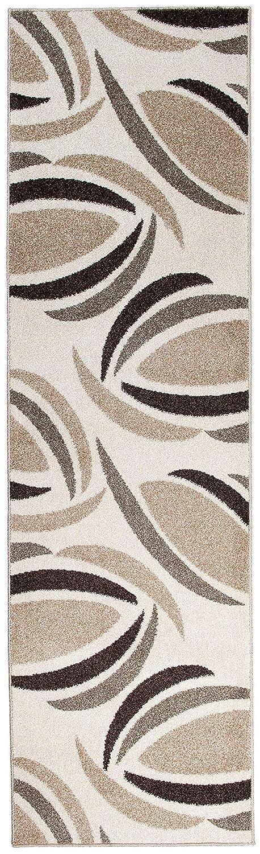 Moderne Läufer Teppich Flur Brücke - Muster in Creme - Teppichläufer TWIST Kollektion 100 x 350 cm
