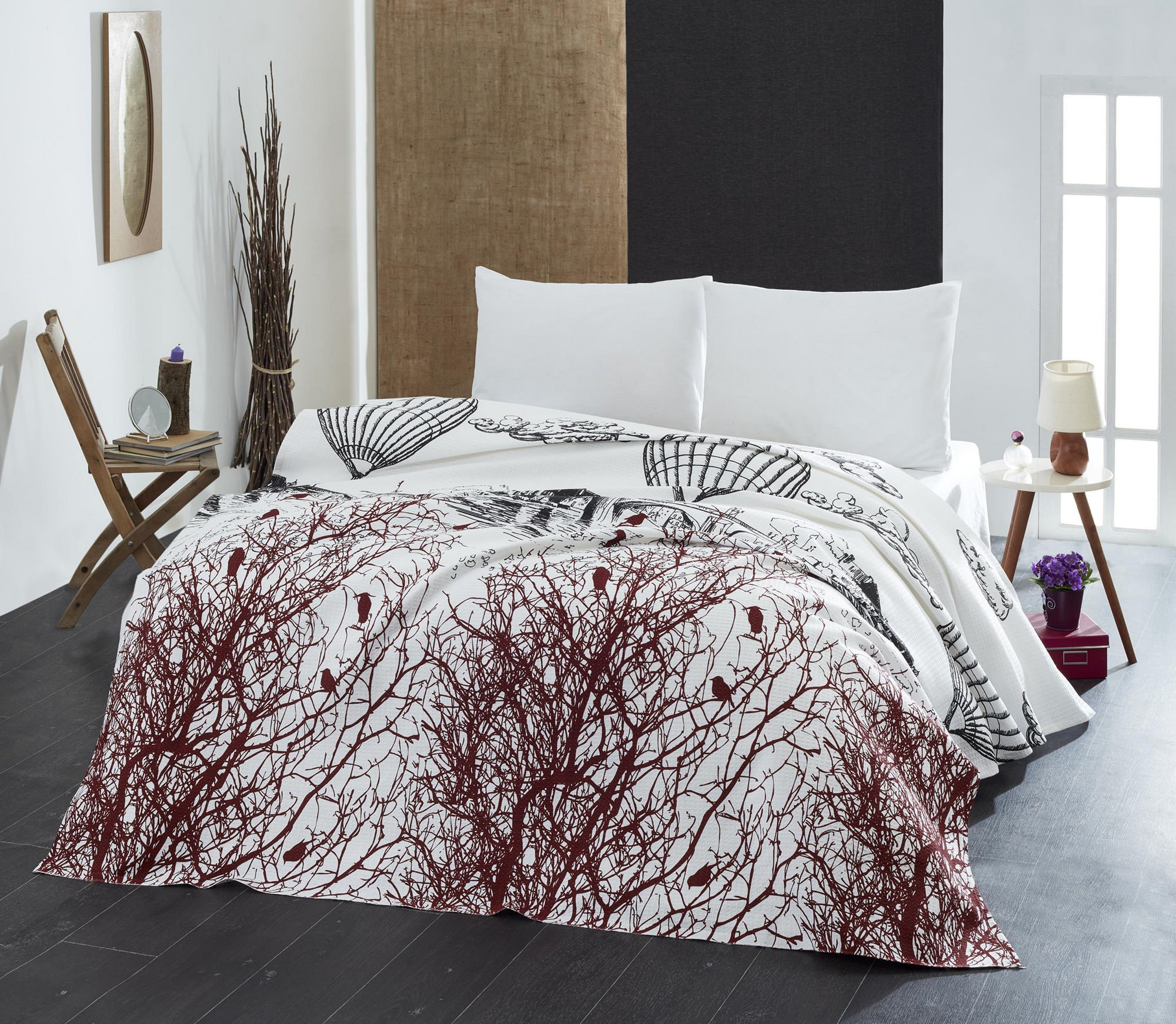 LaModaHome Luxury Soft Colored Bedroom Bedding 100% Cotton Single Coverlet (Pique) Thin Coverlet Summer / / Single