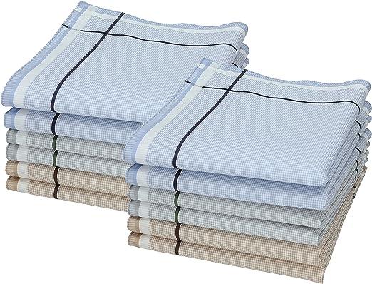 Betz Juego de pañuelos LEO 5 de tejido para caballeros 100% algodón 40x40 cm diseño 2 Color 12 piezas azul verde marrón: Amazon.es: Ropa y accesorios