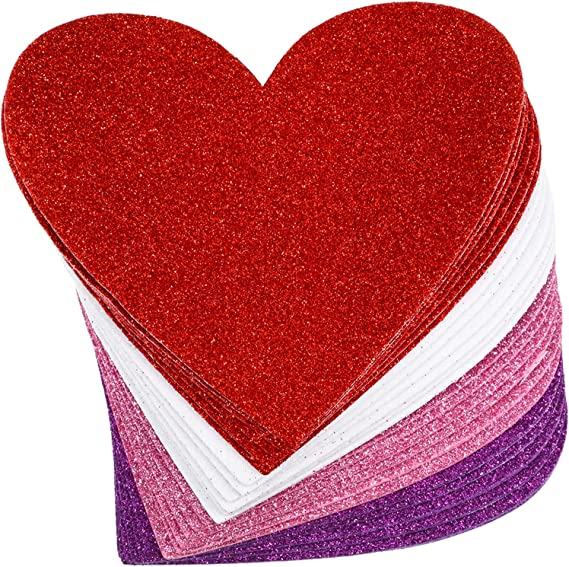 Pack of 50 pcs Glitter Foam Heart Shape Mixed Self Adhesive Sticker for Kids X7