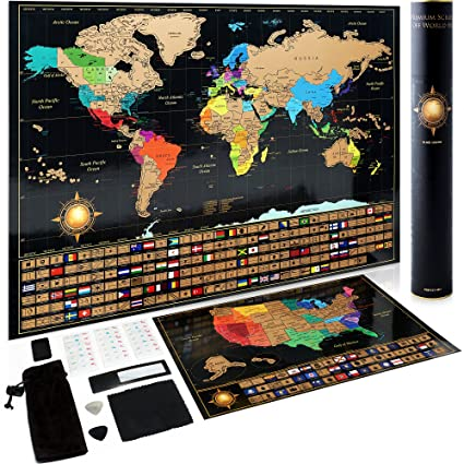 Scratch Off World Map Poster + Deluxe United States Map